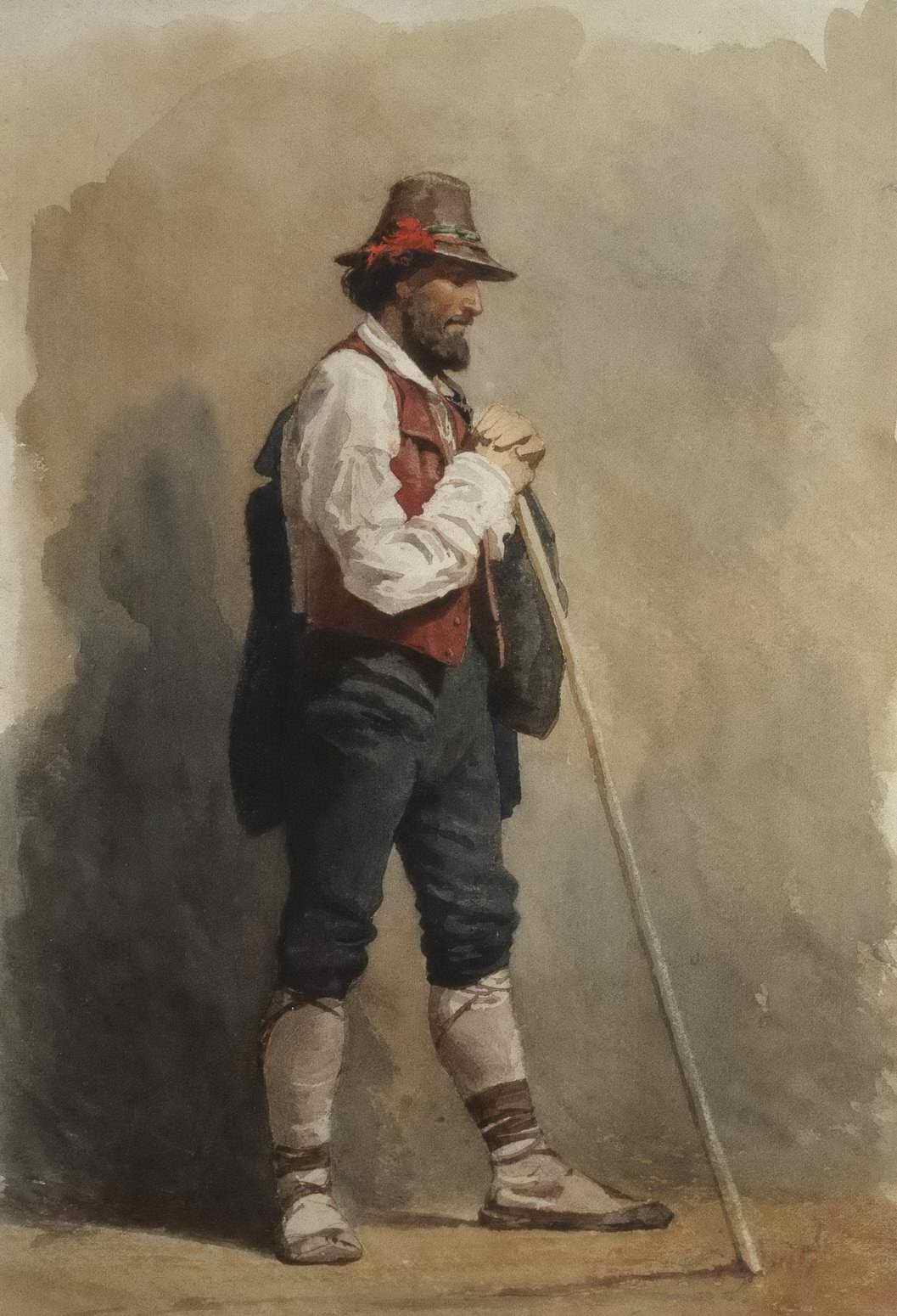 Брюллов П.А. - Мужская фигура в шляпе и пальто