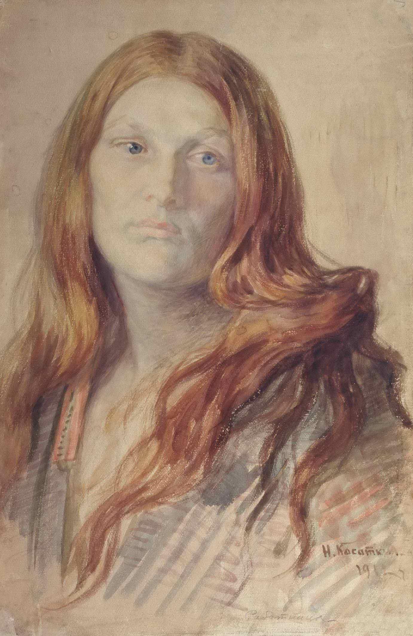 """Касаткин Н.А. - Женский портрет (""""Рыжая"""")"""