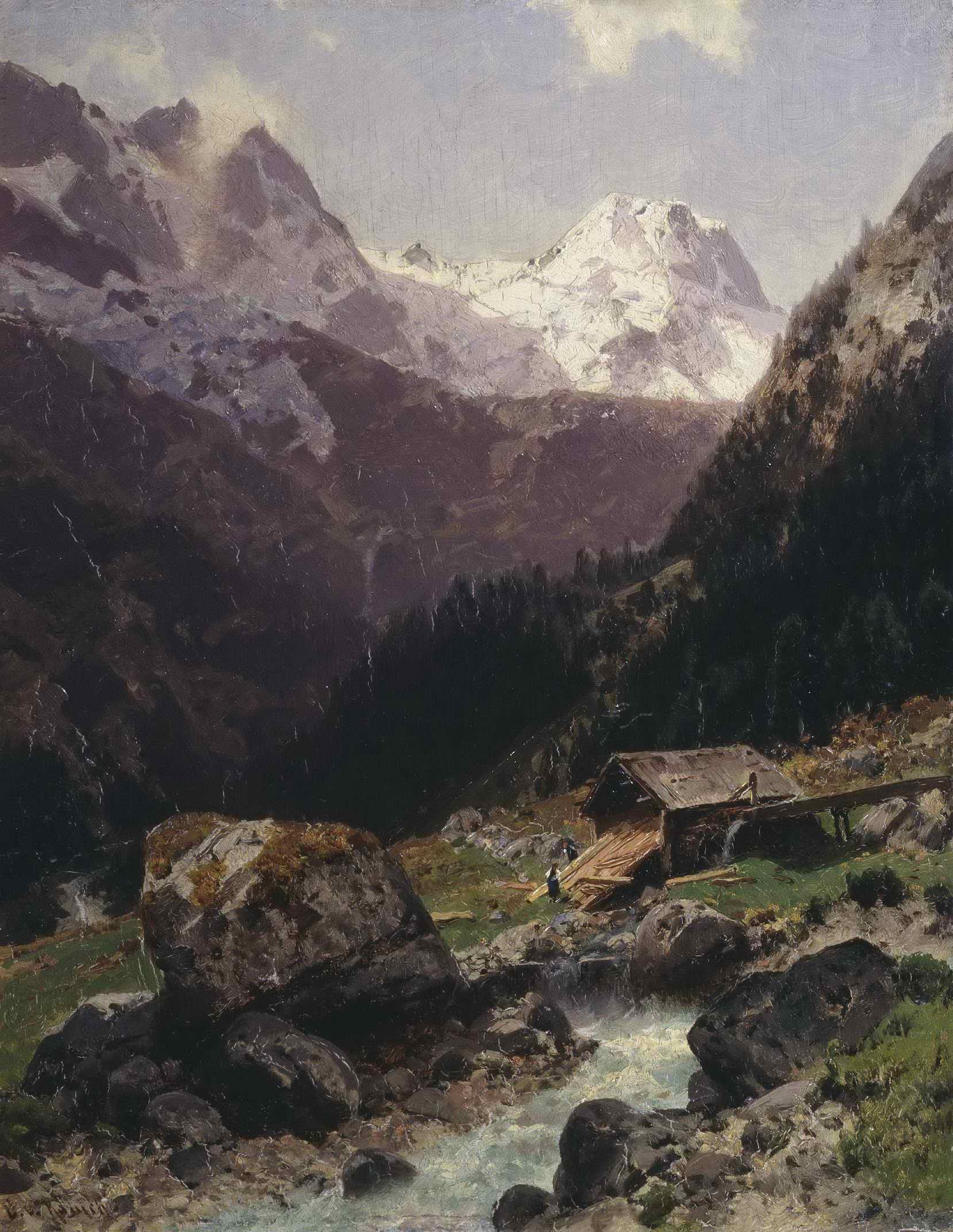 Неизвестный художник - Горный пейзаж