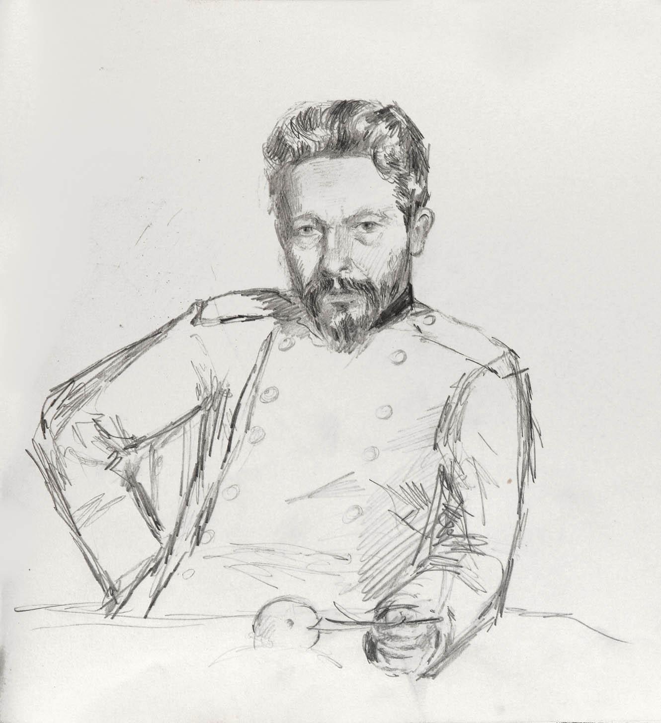 Дворцовая площадь (На оборотной стороне): Позен М.Ф. - Портрет Н.А. Ярошенко