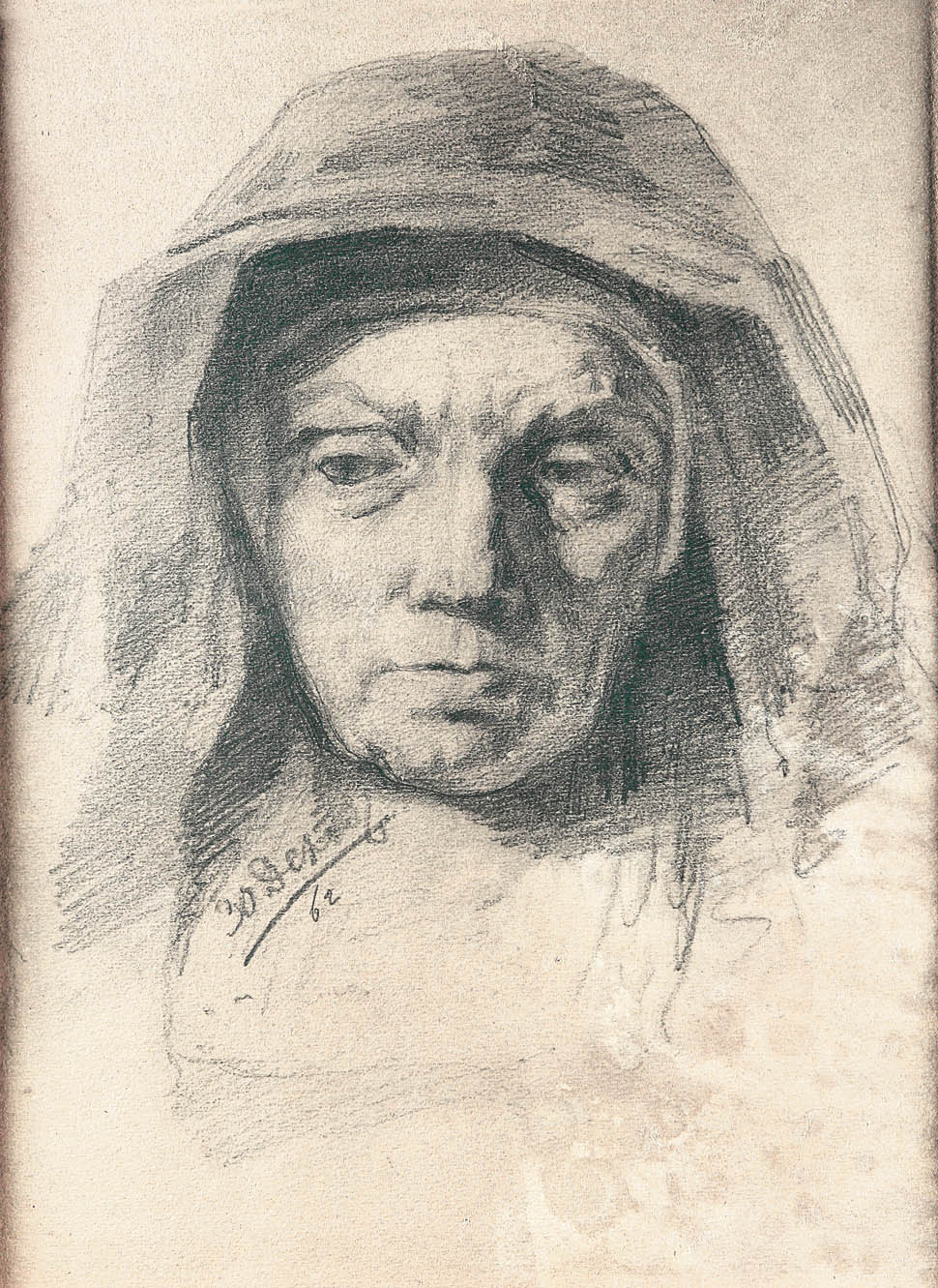 Голова старухи (копия с картины Рембрандта)