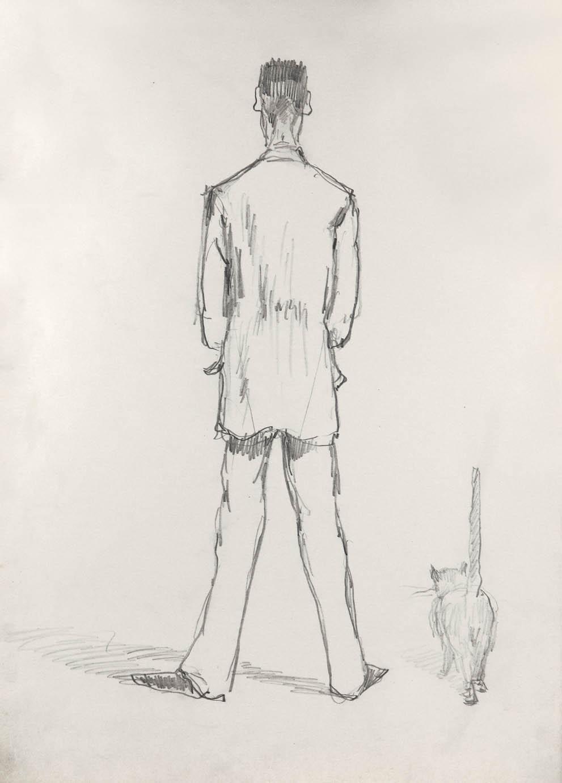Набросок мужской фигуры со спины и кошки