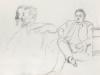Наброски сидящего Н.П. Симановского и двух мужских профилей