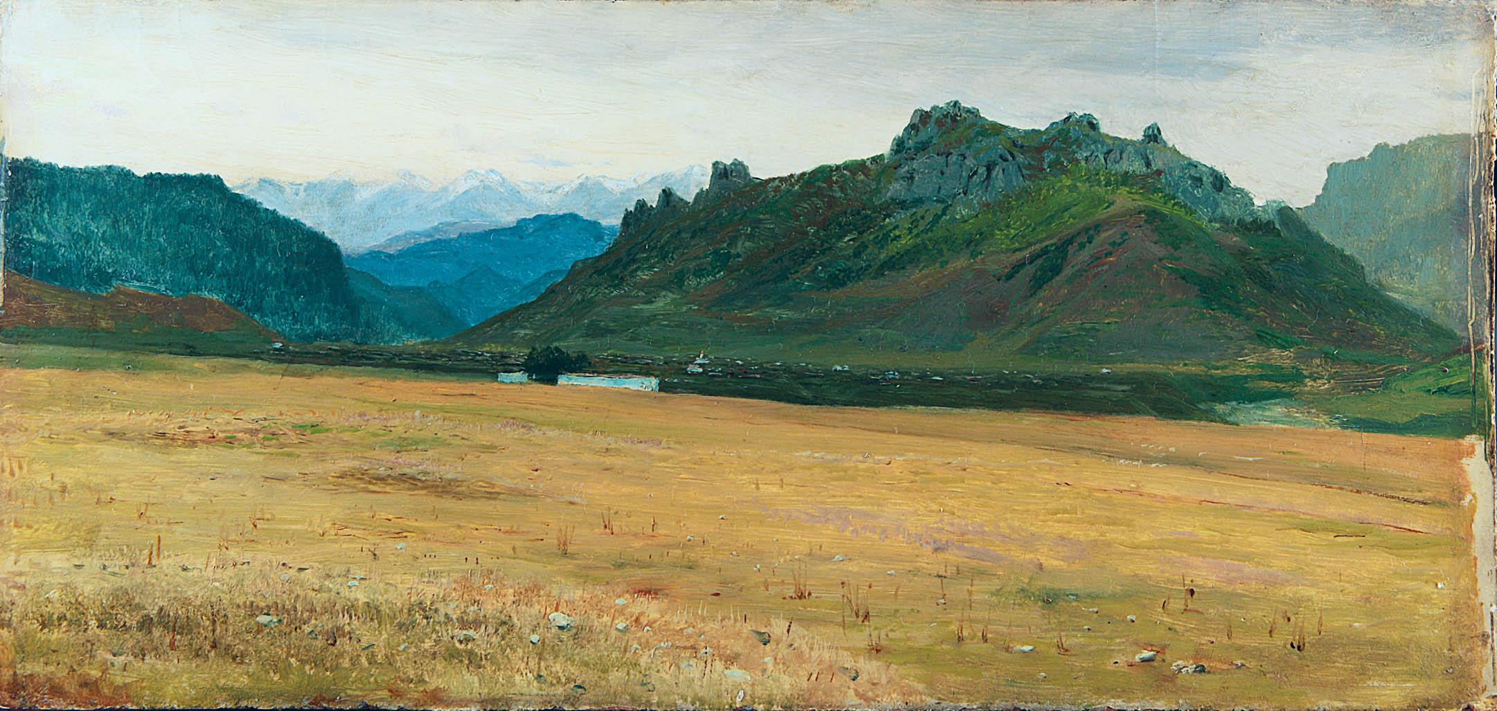 Горный пейзаж.1880-е. Этюд. Картон, масло. 18х38,8