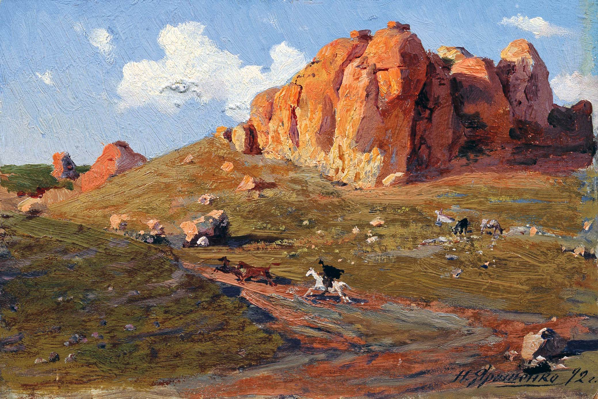 Красные камни. 1892 Этюд. Картон, масло 15,5х22