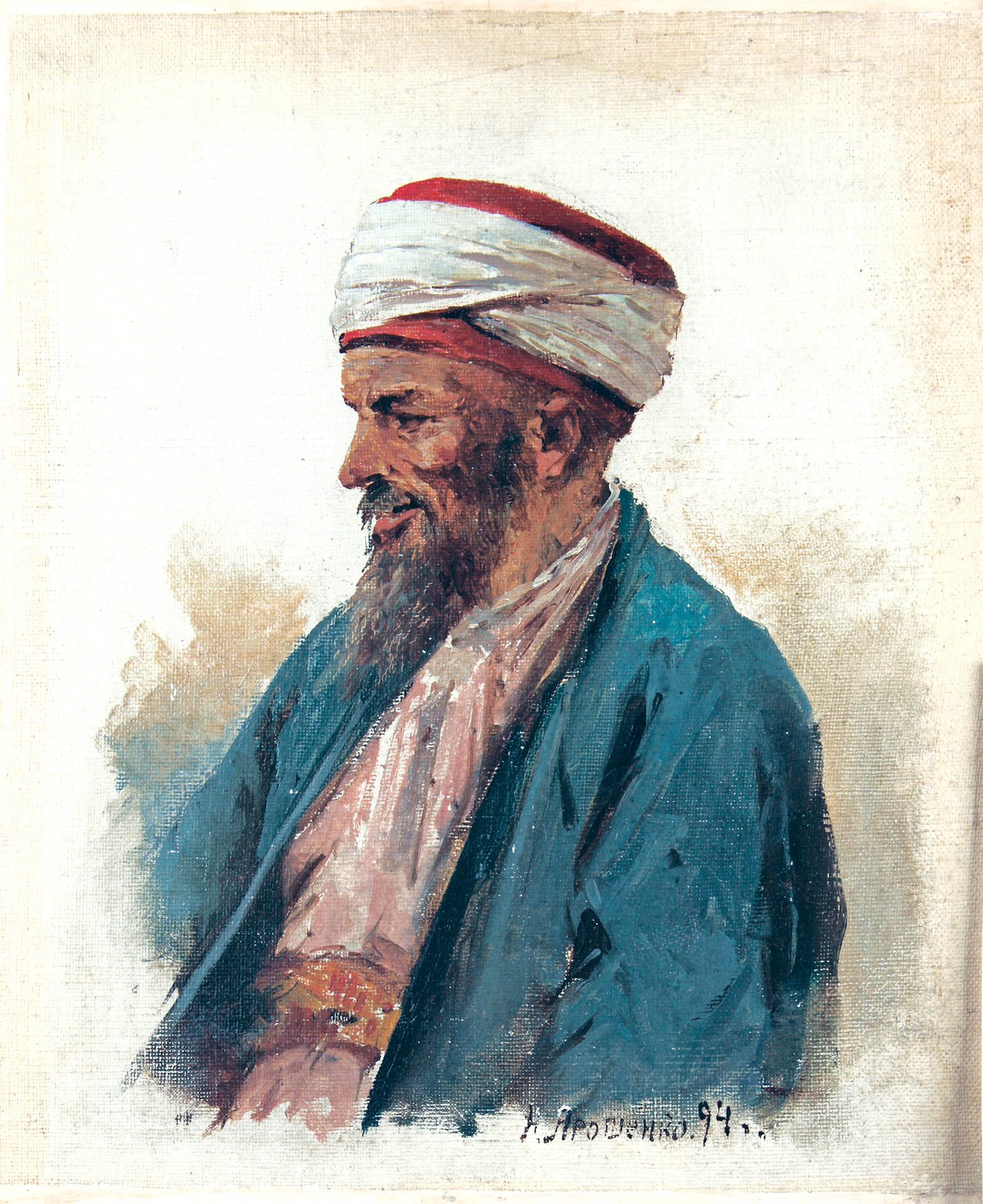 Горец Дагестана.1894. Этюд. Картон.масло. 27.8х23