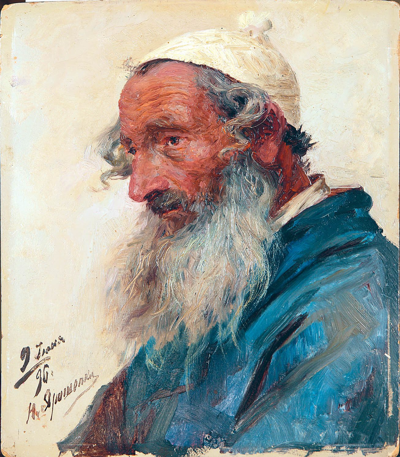 Портрет старого еврея. 1896.Этюд. Картон,масло. 27,3х22,2