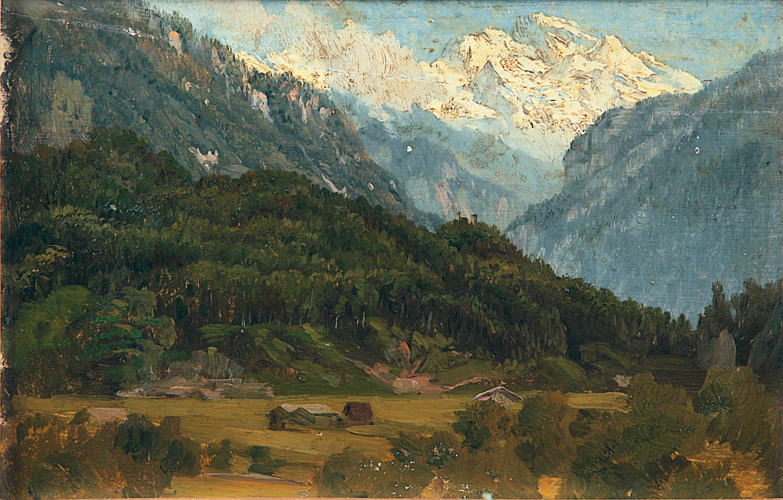 Горы в тумане. 1890-е. Этюд.Фанера,масло. 15,5х23,5