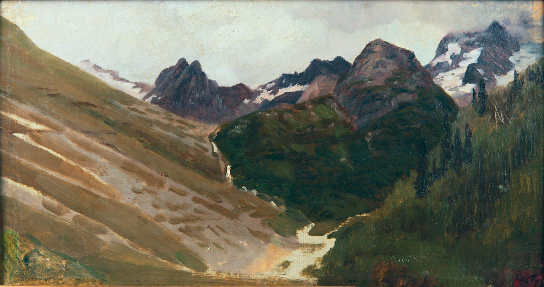 В горах. 1892. 1890-е. Этюд. Холст,масло. 20,7х38