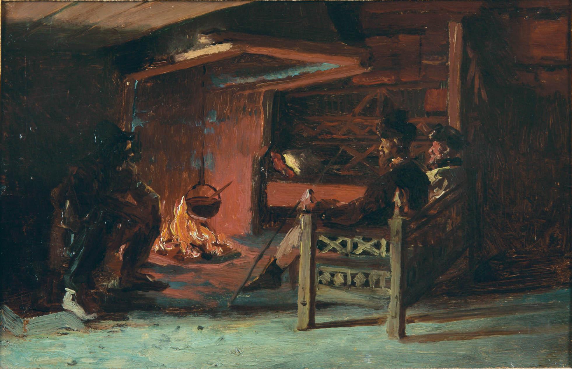"""Сакля. Этюд к картине \""""Песни о былом\""""1890. Картон, масло. 18х25"""