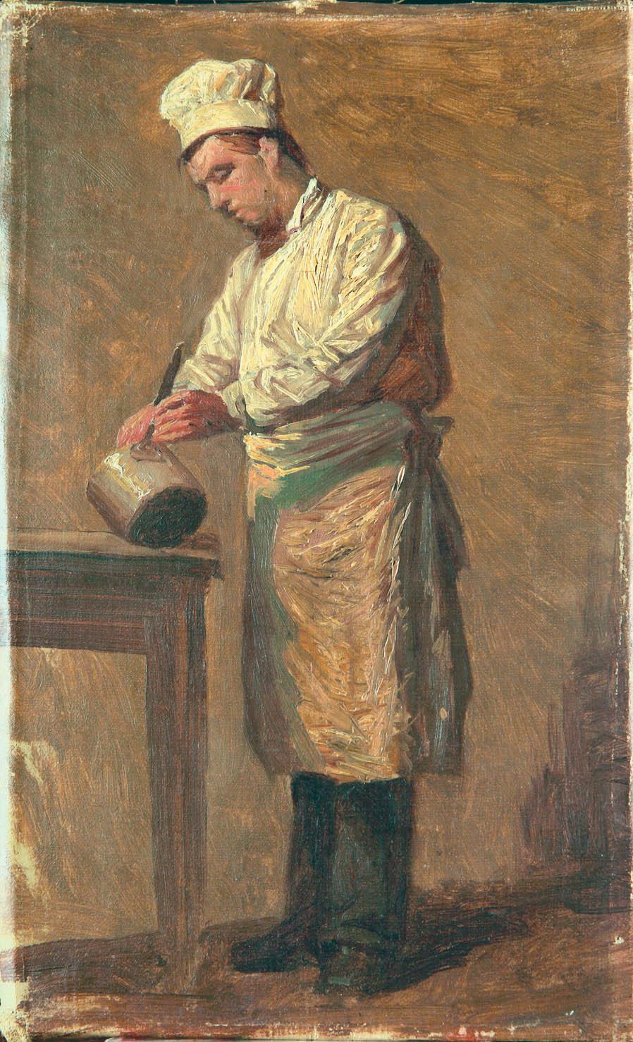 Повар. 1890-е. Этюд.Холст.масло. 31х18