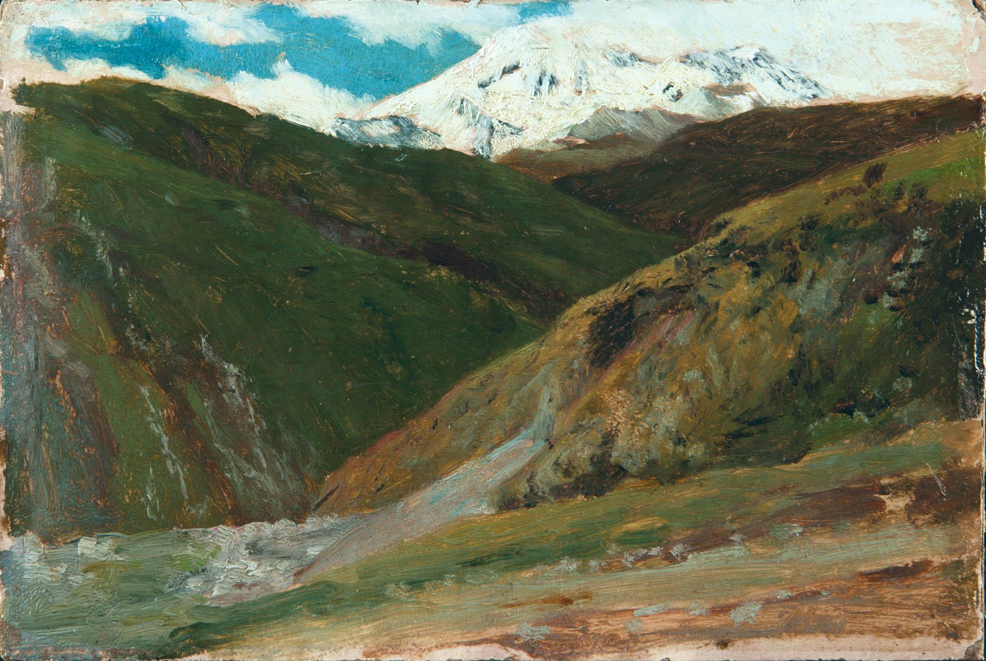 Снежные вершины гор. 1890-е. Этюд.картон. масло. 18х25,5