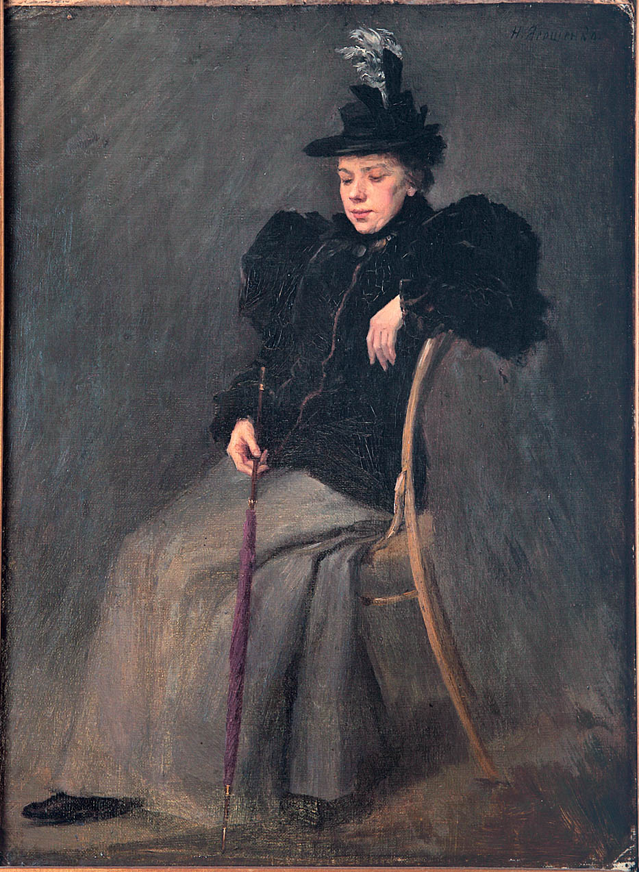 Женский портрет. Холст на картоне,масло. 50х37