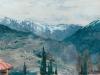 Горный пейзаж.(осень в горах). 1890-е. Этюд. картон.масло. 13,5х23,4