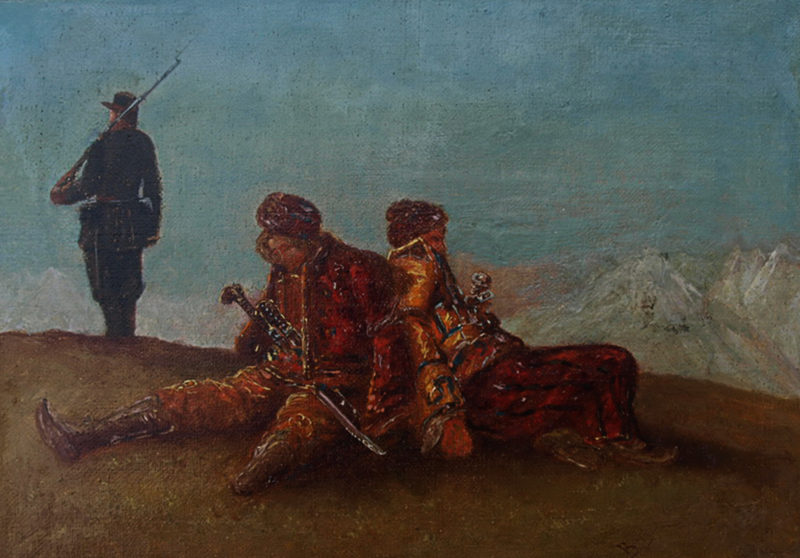 Солдат, охраняющий пленных турок