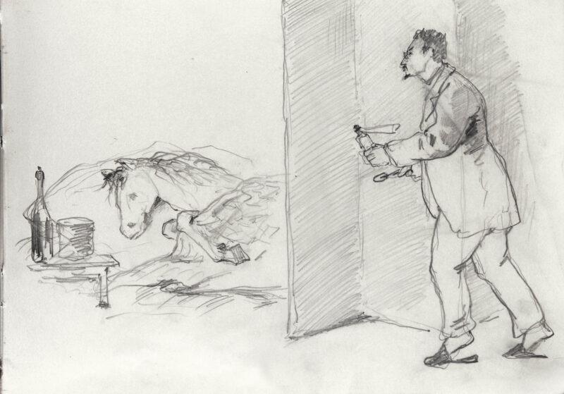 Доктор Симановский идет лечить свою лошадь
